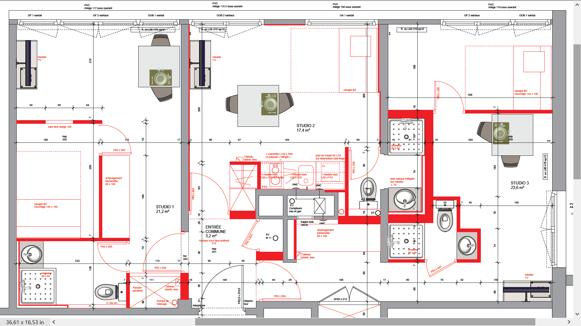 View larger image division dun appartement de 67 m² en 3 appartements plan après travaux